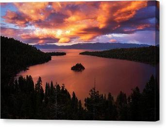 "Emerald Bay Fire by Brad Scott - Canvas Print-12.000"" x 8.000""-Lake Tahoe Prints"