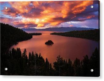 Emerald Bay Fire by Brad Scott - Acrylic Print-Acrylic Print-Lake Tahoe Prints