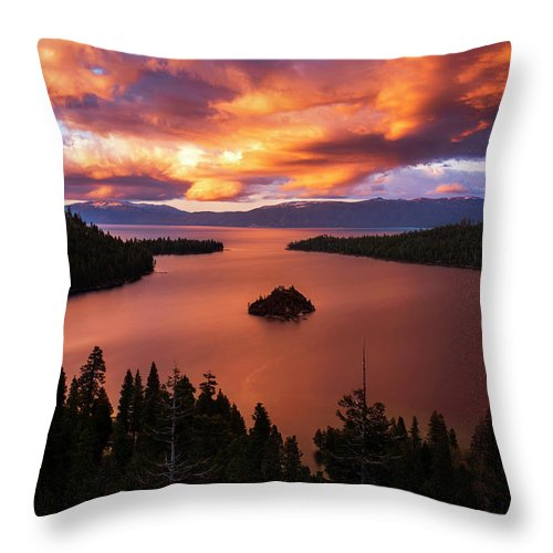 Emerald Bay Fire - Throw Pillow-Lake Tahoe Prints