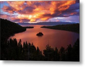 Emerald Bay Fire by Brad Scott- Metal Print-Metal Print-Lake Tahoe Prints
