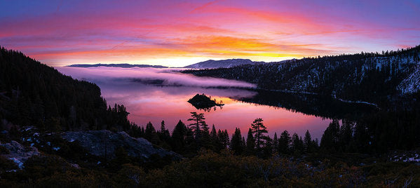 Emerald Bay Foggy Fire - Art Print by Brad Scott