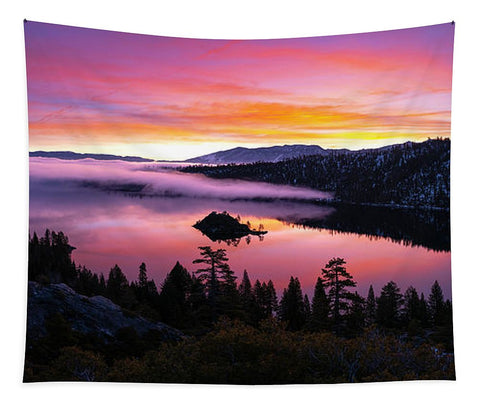 Emerald Bay Foggy Fire - Tapestry by Brad Scott