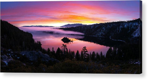 Emerald Bay Foggy Fire - Acrylic Print by Brad Scott