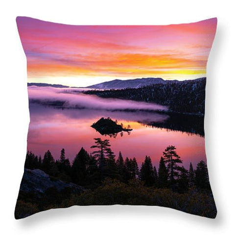 Emerald Bay Foggy Fire - Throw Pillow