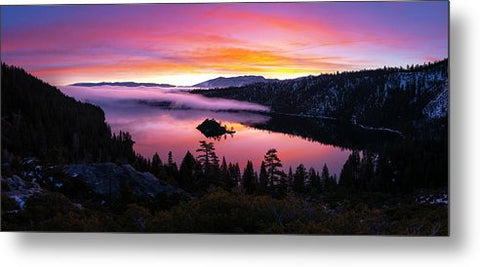 Emerald Bay Foggy Fire - Metal Print by Brad Scott
