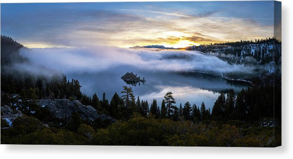 Emerald Bay Foggy Sunrise - Canvas Print by Brad Scott