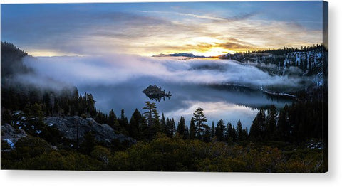 Emerald Bay Foggy Sunrise - Acrylic Print by Brad Scott