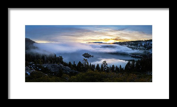 Emerald Bay Foggy Sunrise - Framed Print by Brad Scott