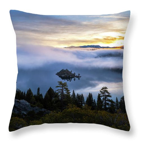 Emerald Bay Foggy Sunrise - Throw Pillow