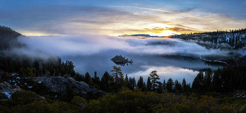 Emerald Bay Foggy Sunrise - Art Print by Brad Scott
