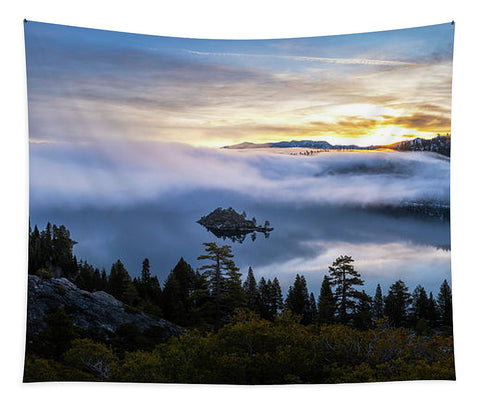 Emerald Bay Foggy Sunrise - Tapestry by Brad Scott