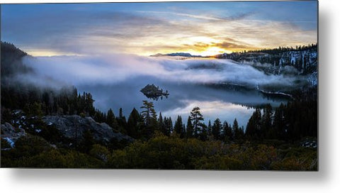 Emerald Bay Foggy Sunrise - Metal Print by Brad Scott