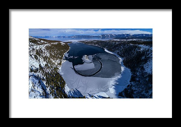 Emerald Bay Ice Aerial - Framed Print