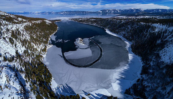 Emerald Bay Ice Aerial - Art Print