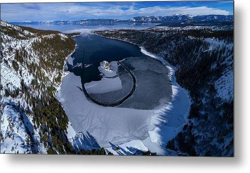 Emerald Bay Ice Aerial - Metal Print