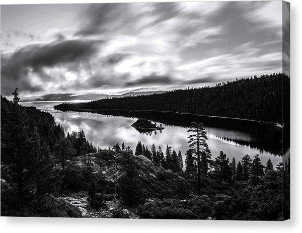 "Emerald Bay Rays Black And White By Brad Scott - Canvas Print-10.000"" x 6.625""-Lake Tahoe Prints"
