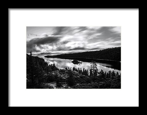 Emerald Bay Rays Black And White By Brad Scott - Framed Print
