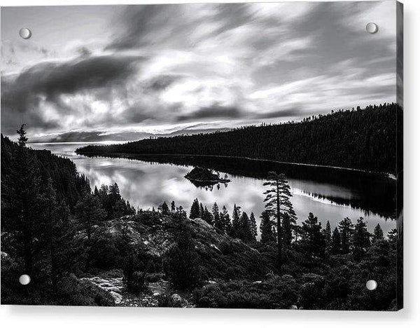 Emerald Bay Rays Black And White By Brad Scott - Acrylic Print