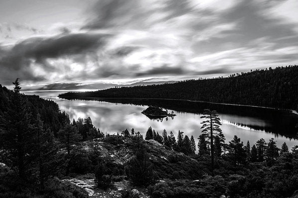 Emerald Bay Rays Black And White By Brad Scott - Art Print