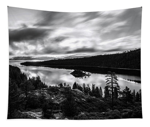 Emerald Bay Rays Black And White By Brad Scott - Tapestry