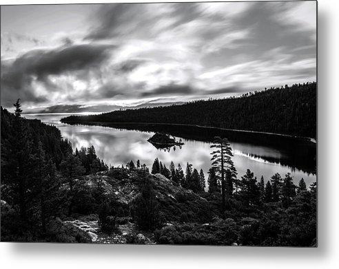 Emerald Bay Rays Black And White By Brad Scott - Metal Print-Metal Print-Lake Tahoe Prints