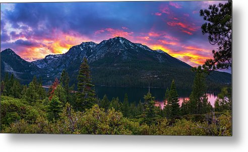 Emerald Bay Secret Sunset Panorama By Brad Scott - Metal Print