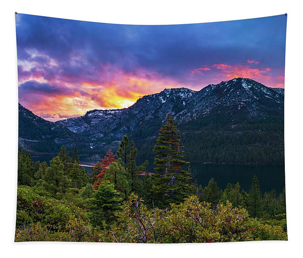Emerald Bay Secret Sunset Panorama By Brad Scott - Tapestry