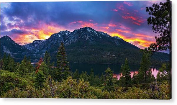 Emerald Bay Secret Sunset Panorama By Brad Scott - Acrylic Print