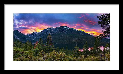 Emerald Bay Secret Sunset Panorama By Brad Scott - Framed Print