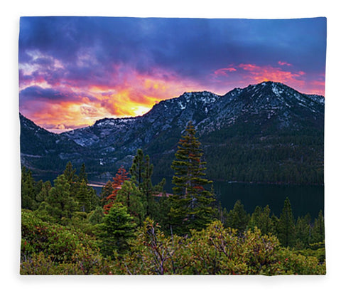 Emerald Bay Secret Sunset Panorama By Brad Scott - Blanket