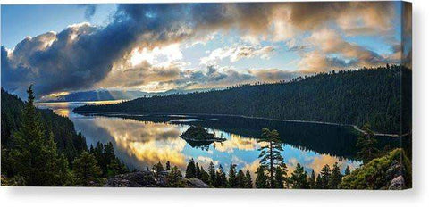 "Emerald Bay Sunrise Rays - Canvas Print-16.000"" x 6.500""-Lake Tahoe Prints"