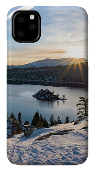 Emerald Bay Winter Sunburst By Brad Scott - Phone Case