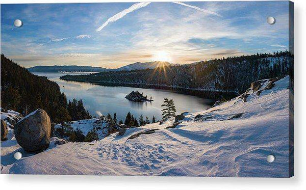 Emerald Bay Winter Sunburst By Brad Scott - Acrylic Print