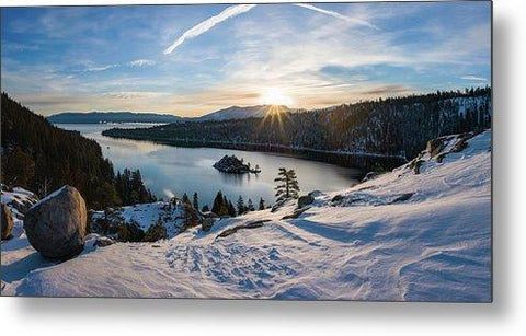 Emerald Bay Winter Sunburst By Brad Scott - Metal Print-Lake Tahoe Prints