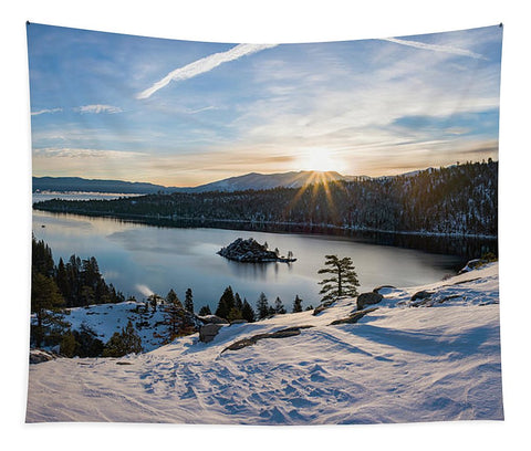 Emerald Bay Winter Sunburst By Brad Scott - Tapestry