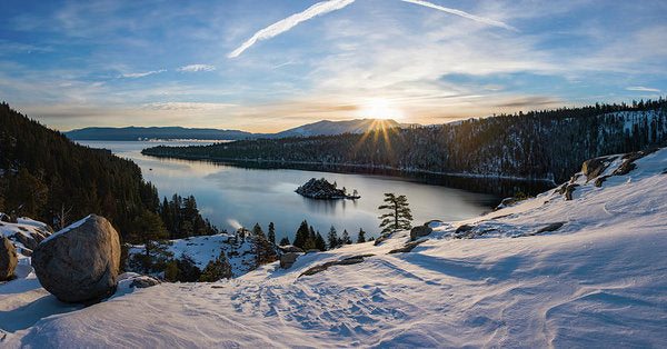Emerald Bay Winter Sunburst By Brad Scott - Art Print