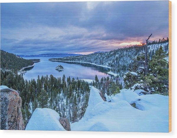 Emerald Bay Winter Sunrise - Wood Print