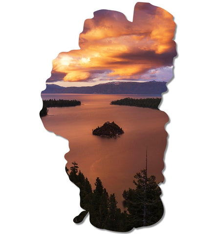Emerald Bay Fire Tahoe Map Cutout Metal Print-Tahoe Map Prints-Lake Tahoe Prints