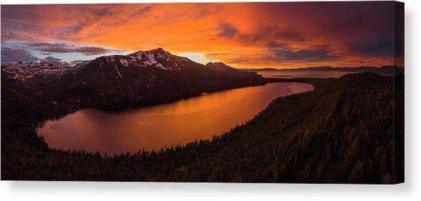 "Fallen Leaf Lake Sunset Aerial By Brad Scott - Canvas Print-16.000"" x 6.375""-Lake Tahoe Prints"
