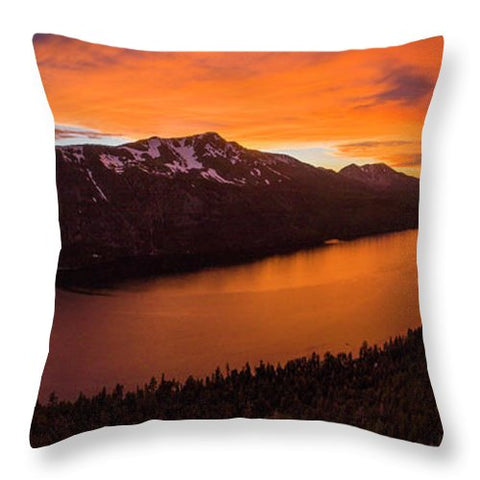 Fallen Leaf Lake Sunset Aerial By Brad Scott - Throw Pillow-Lake Tahoe Prints