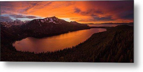 Fallen Leaf Lake Sunset Aerial By Brad Scott - Metal Print-Lake Tahoe Prints