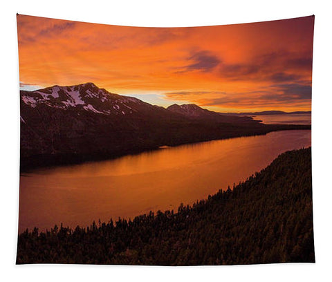 Fallen Leaf Lake Sunset Aerial By Brad Scott - Tapestry