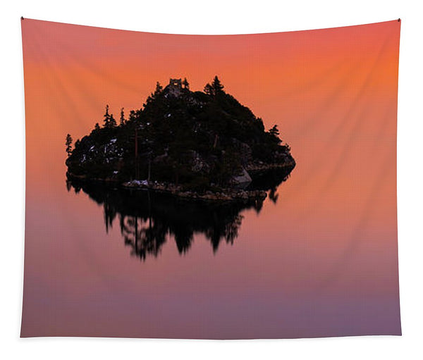 Fannette Island Lake Tahoe - Last Sunset Of The Decade - Tapestry