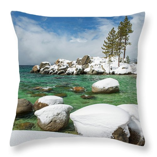 Frozen Aquas By Brad Scott - Throw Pillow-Lake Tahoe Prints