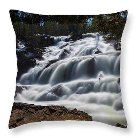 Glen Alpine Waterfall By Brad Scott - Throw Pillow-Lake Tahoe Prints