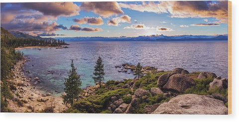 Heavenly Glow At Sand Harbor By Brad Scott - Wood Print