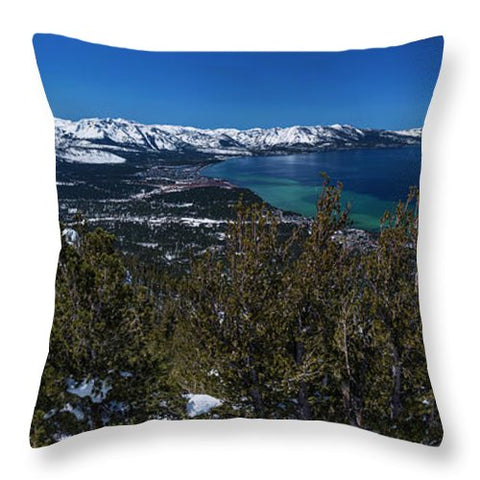 Heavenly Gondola View By Brad Scott - Throw Pillow-Lake Tahoe Prints