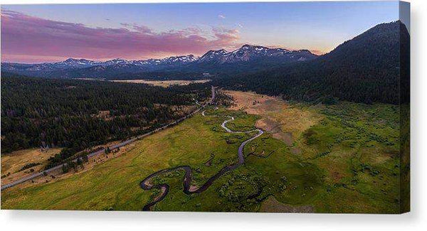 "Hope Valley Aerial By Mike Breshears - Canvas Print-14.000"" x 6.375""-Lake Tahoe Prints"