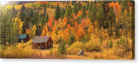 "Hope Valley Fall Cabin By Brad Scott - Canvas Print-20.000"" x 7.750""-Lake Tahoe Prints"