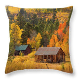 Hope Valley Fall Cabin By Brad Scott - Throw Pillow-Lake Tahoe Prints